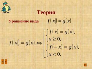 Теория Уравнение вида