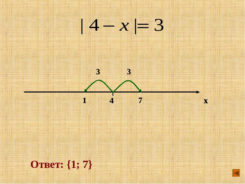 x 4 7 1 3 3 Ответ: {1; 7}