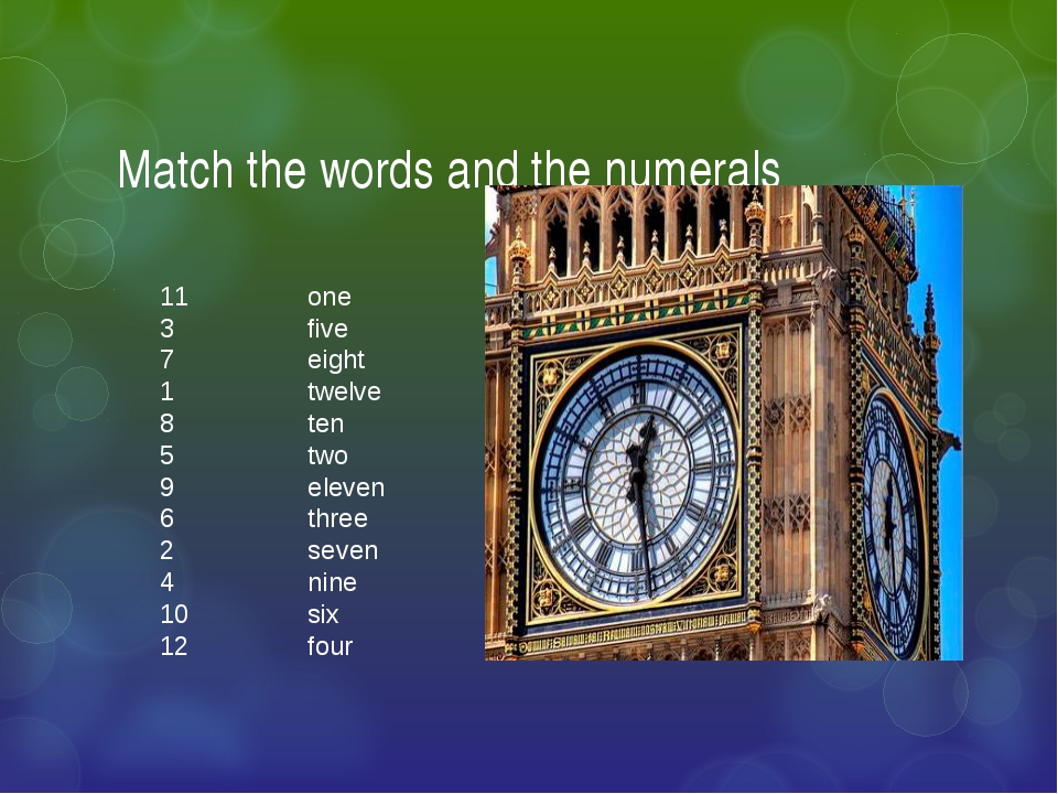 Match the words and the numerals 11 one 3 five 7 eight 1 twelve 8 ten 5 two 9...