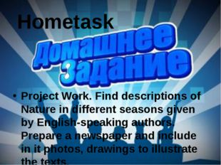 Hometask Project Work. Find descriptions of Nature in different seasons given