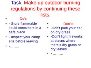 Task: Make up outdoor burning regulations by continuing these lists. Do's - S
