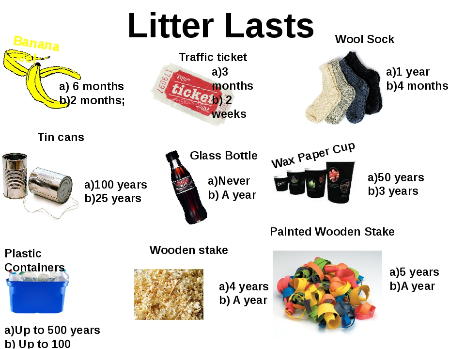 Banana peel Litter Lasts a) 6 months b)2 months; Traffic ticket a)3 months b)...