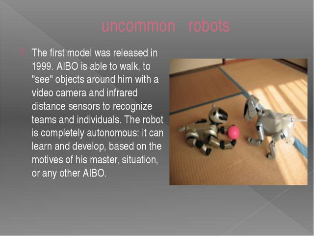 "The first model was released in 1999. AIBO is able to walk, to ""see"" objects..."