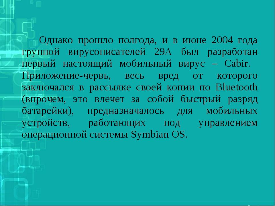 Однако прошло полгода, и в июне 2004 года группой вирусописателей 29А был р...