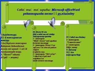 Сабақтың тақырыбы: Microsoft officeWord редакторында кесте құру,пішімдеу Ұйым