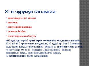 Хүн чурумун сагываска: ажылдаар күжү эвээш; шаа чок; кичээнгейи кошкак; дынна