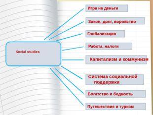 Social studies Глобализация Работа, налоги Закон, долг, воровство Система со