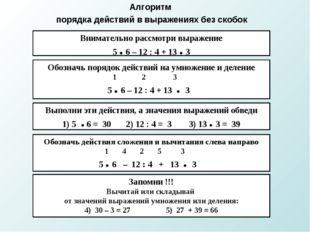 Алгоритм порядка действий в выражениях без скобок Внимательно рассмотри выраж