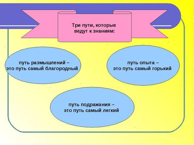 Три пути, которые ведут к знаниям: путь размышлений – это путь самый благород...