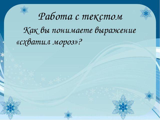 Работа с текстом Как вы понимаете выражение «схватил мороз»?