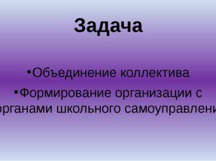Задача Объединение коллектива Формирование организации с органами школьного с