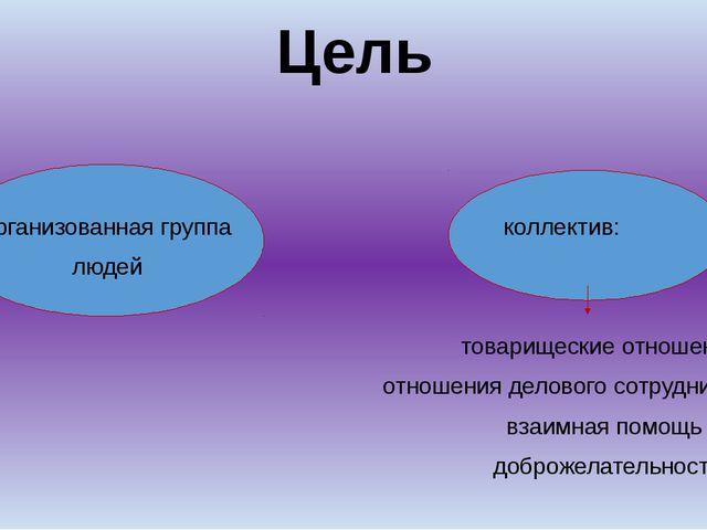 Цель неорганизованная группа коллектив: людей товарищеские отношения отношен...