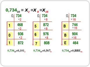 0,73410 = х2 =х 8 =х16 0, 734 х 2 468 х 2 1 0 936 х 2 1 872 0,73410=0,1012 1