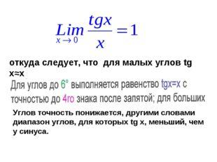 откуда следует, что для малых углов tg x≈x Углов точность понижается, другими