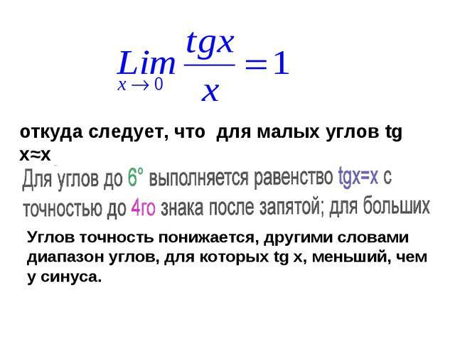 откуда следует, что для малых углов tg x≈x Углов точность понижается, другими...
