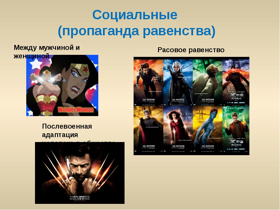 Социальные (пропаганда равенства) Между мужчиной и женщиной Расовое равенство...