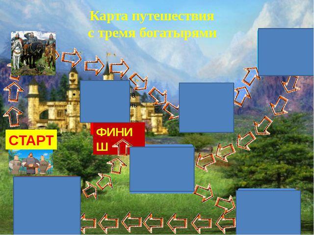СТАРТ ФИНИШ Карта путешествия с тремя богатырями