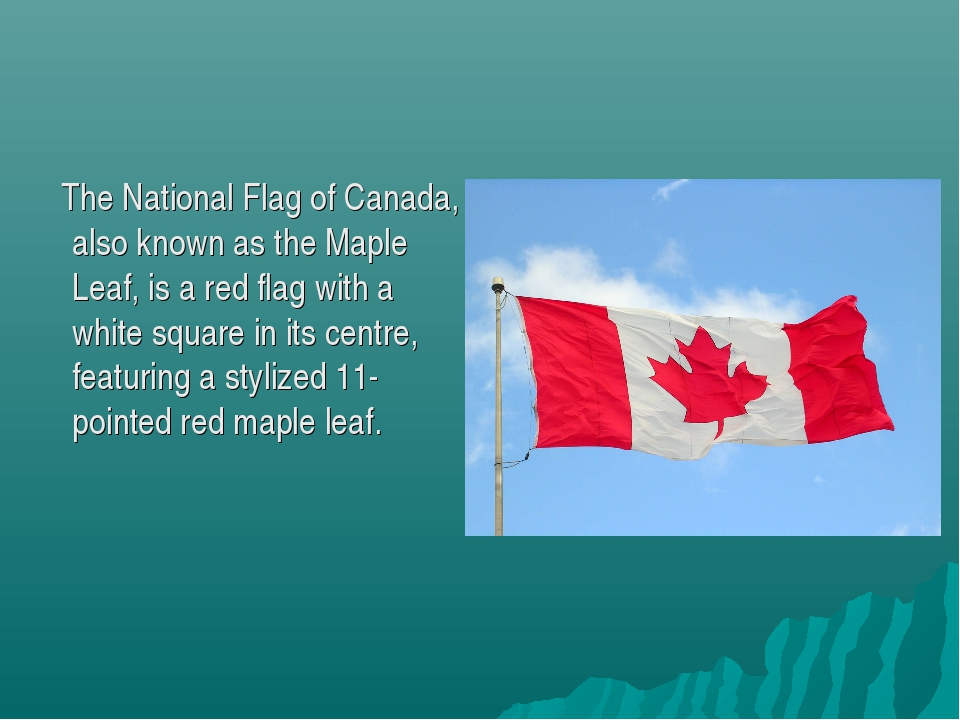 The National Flag of Canada, also known as the Maple Leaf, is a red flag wit...