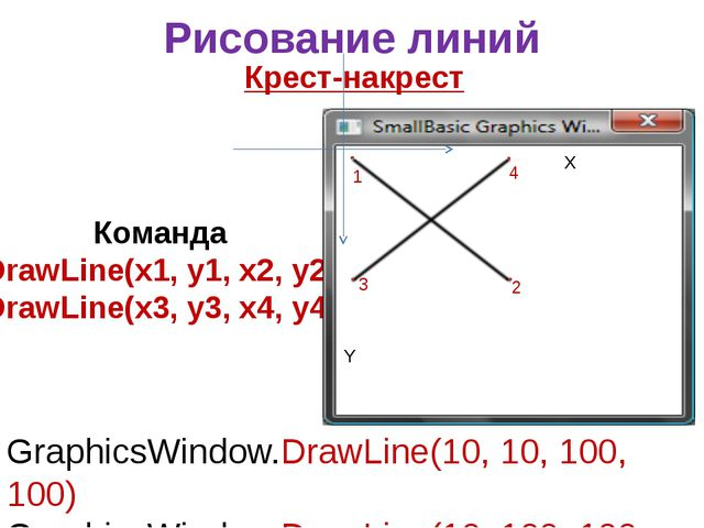 Рисование линий Крест-накрест GraphicsWindow.DrawLine(10, 10, 100, 100) Graph...
