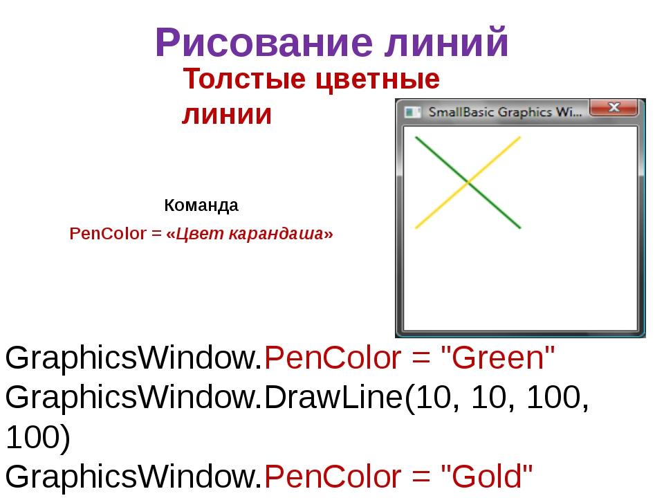 Рисование линий Команда PenColor = «Цвет карандаша» Толстые цветные линии Gra...