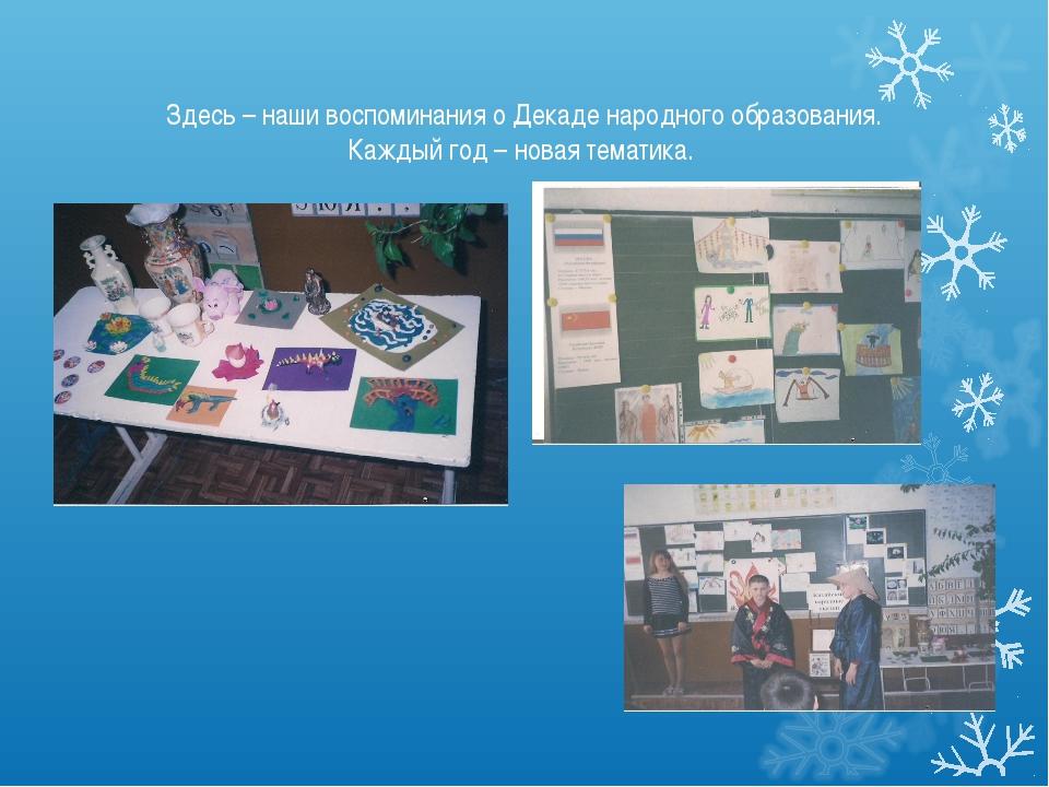 Здесь – наши воспоминания о Декаде народного образования. Каждый год – новая...