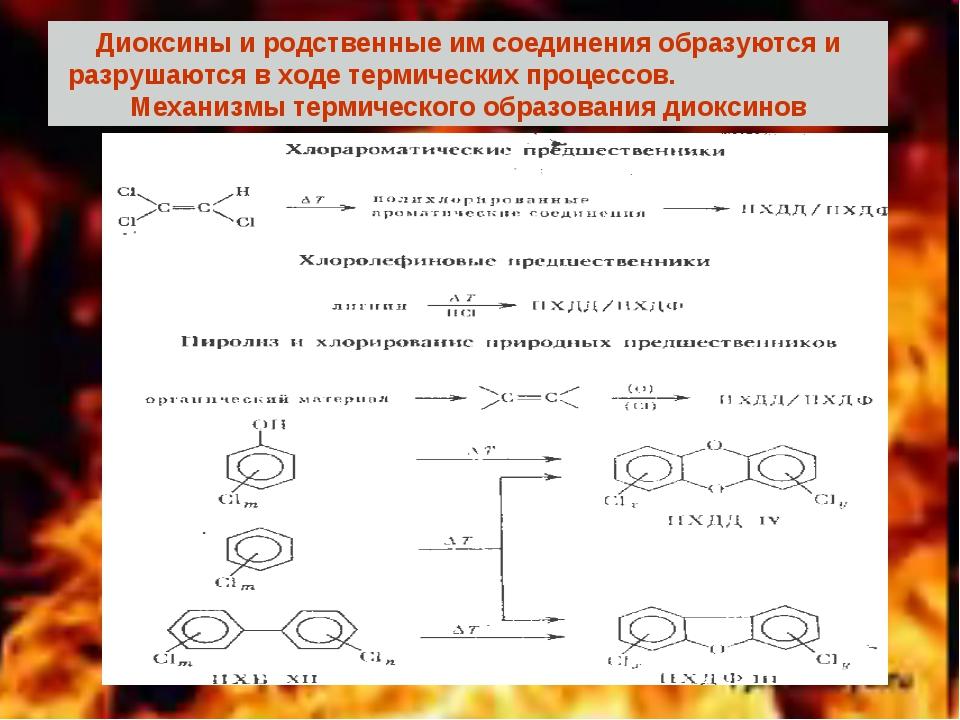 Диоксины и родственные им соединения образуются и разрушаются в ходе термичес...