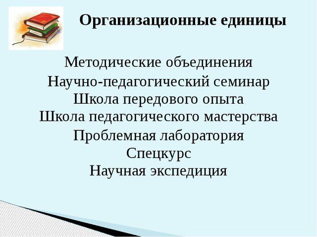 Методические объединения Научно-педагогический семинар Школа передового опыта...