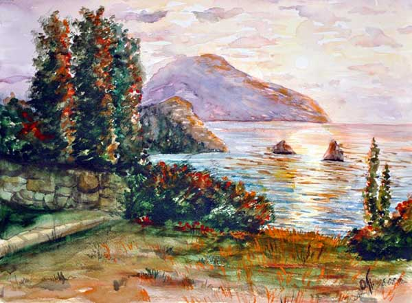http://www.plakitina.ru/img/aquarel/evening_in_krim.jpg