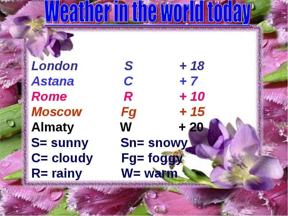 London S + 18 Astana C + 7 Rome R + 10 Moscow Fg + 15 Almaty W + 20 S= sunny...