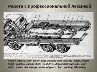 Работа с профессиональной лексикой Engine, chassis, body, power train, runni