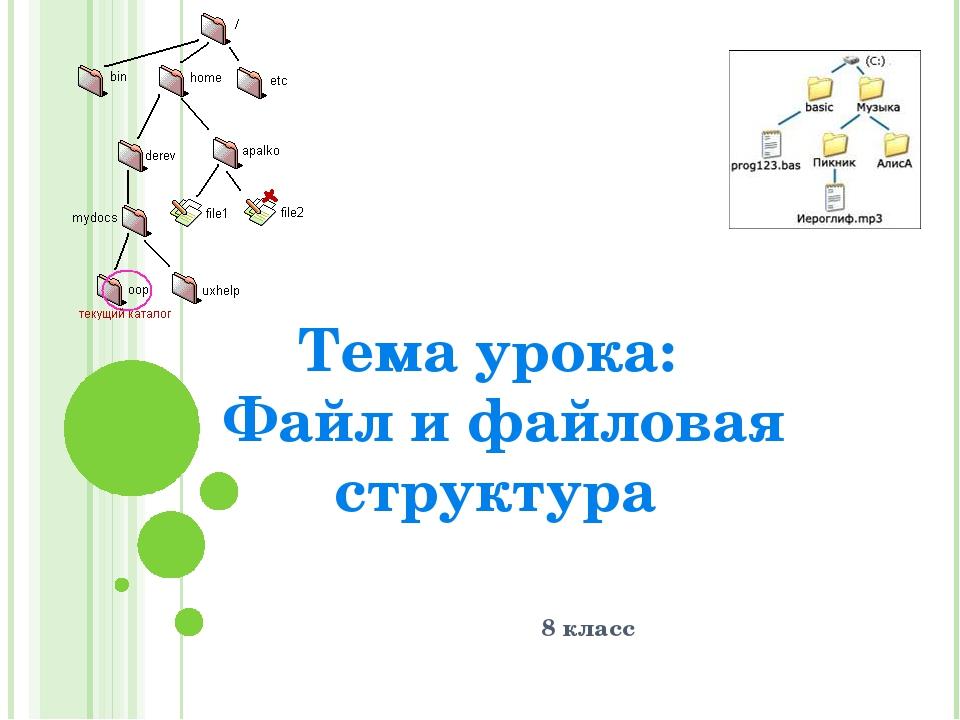 8 класс Тема урока: Файл и файловая структура
