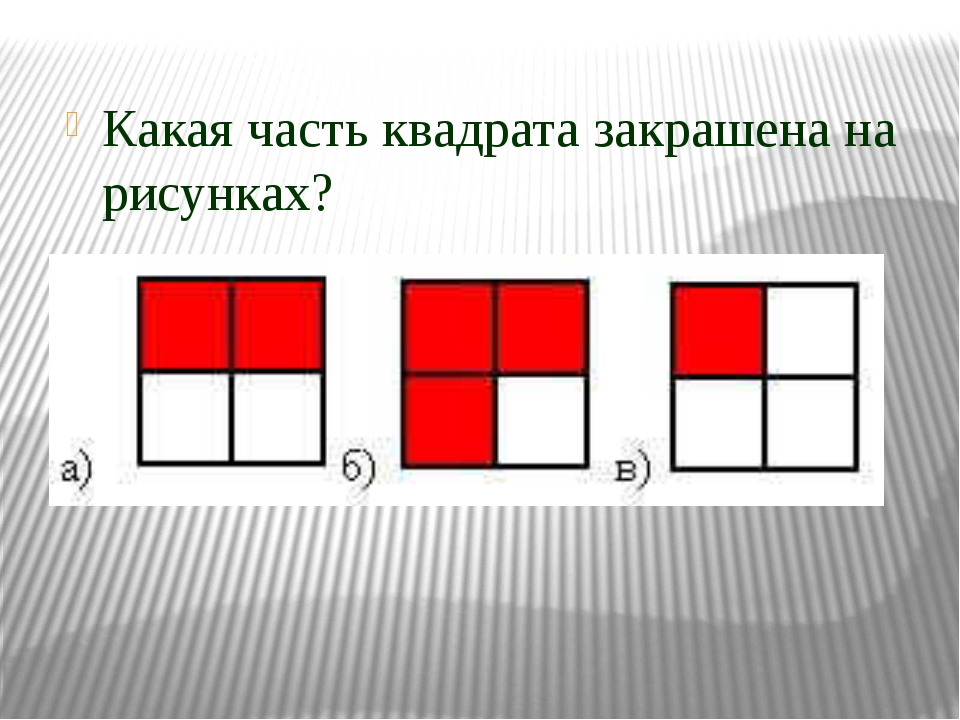 Какая часть квадрата закрашена на рисунках? На предыдущих уроках мы познакоми...