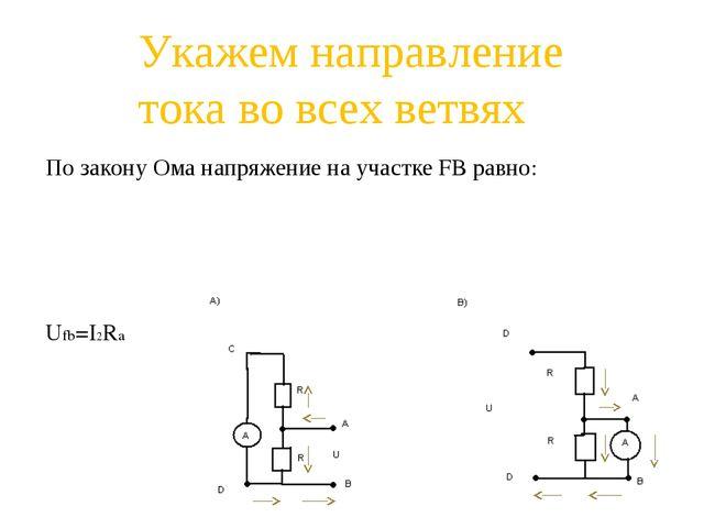 По закону Ома напряжение на участке FB равно: Ufb=I2Ra Укажем направление ток...