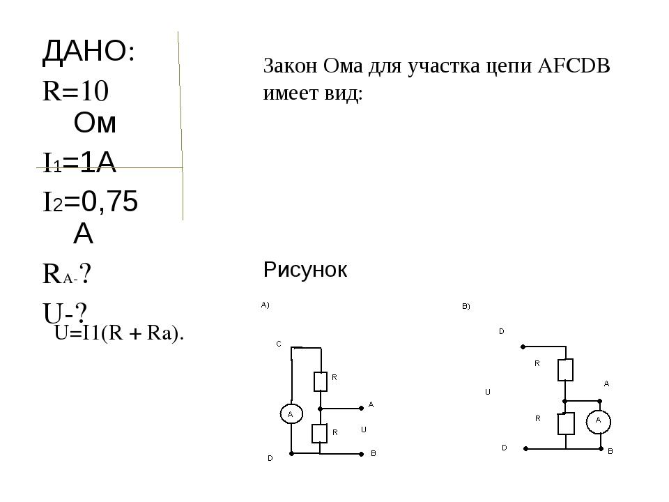 ДАНО: R=10 Ом I1=1А I2=0,75А RA-? U-? Рисунок Закон Ома для участка цепи AFCD...