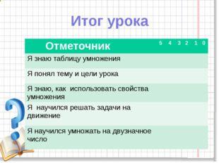 Итог урока Отметочник 5 4 3 2 1 0 Я знаю таблицу умножения Я понял тему и цел