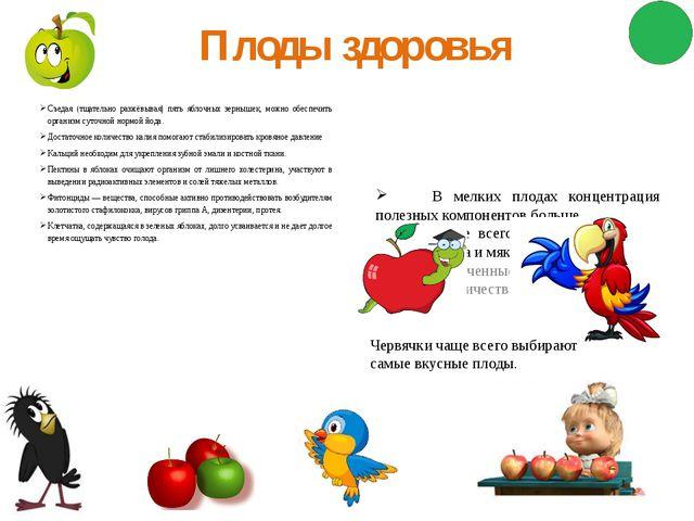 Плоды здоровья Съедая (тщательно разжёвывая) пять яблочных зернышек, можно об...