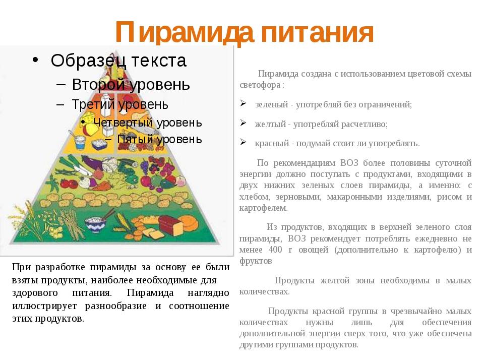 Пирамида питания Пирамида создана с использованием цветовой схемы светофора :...