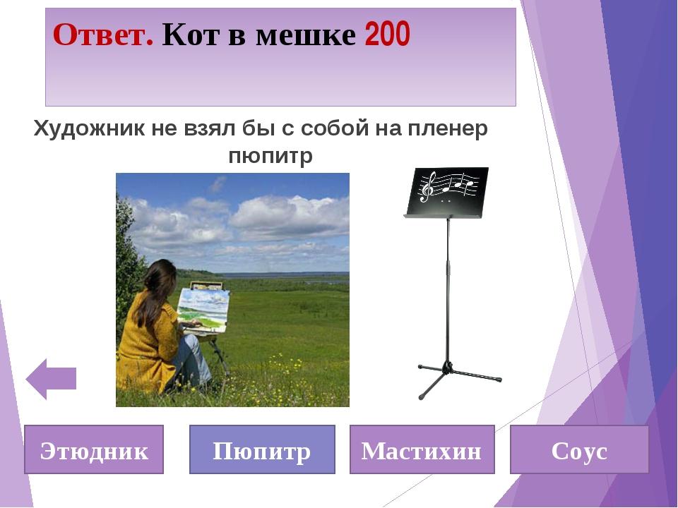 Ответ. Кот в мешке 200 Художник не взял бы с собой на пленер пюпитр Этюдник П...