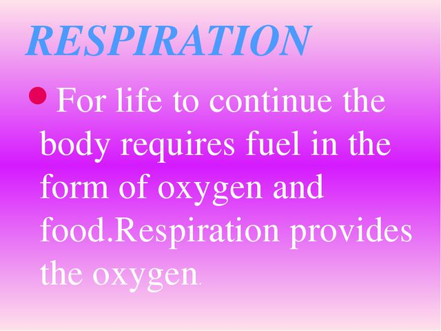 For life to continue the body requires fuel in the form of oxygen and food.Re...