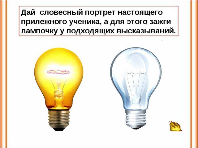 Дай словесный портрет настоящего прилежного ученика, а для этого зажги лампоч...
