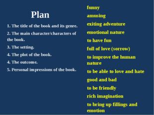 Plan 1. The title of the book and its genre. 2. The main character/characters