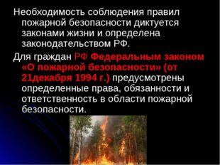 Необходимость соблюдения правил пожарной безопасности диктуется законами жизн