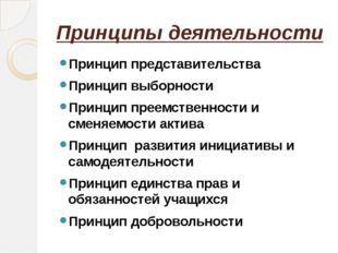 Принципы деятельности Принцип представительства Принцип выборности Принцип пр