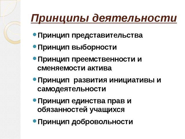 Принципы деятельности Принцип представительства Принцип выборности Принцип пр...