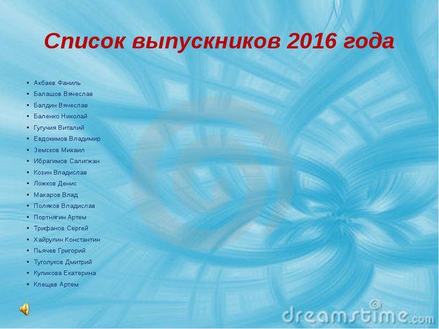 Список выпускников 2016 года Акбаев Фаниль Балашов Вячеслав Балдин Вячеслав Б...