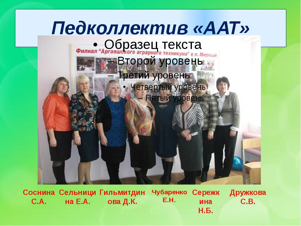 Педколлектив «ААТ» Соснина С.А. Сельницина Е.А. Гильмитдинова Д.К. Чубаренко...