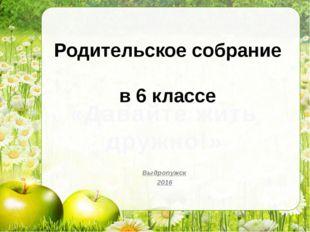Родительское собрание в 6 классе Выдропужск 2016 «Давайте жить дружно!»