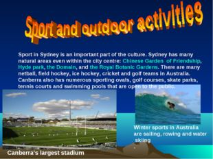 Sport in Sydney is an important part of the culture. Sydney has many natural