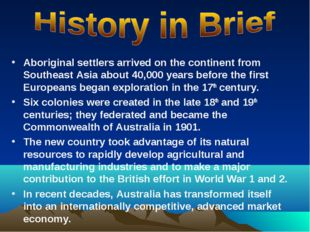 Aboriginal settlers arrived on the continent from Southeast Asia about 40,000