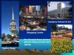 Canberra School of Art Shopping Centre Telstra Tower The Floriade flower fest
